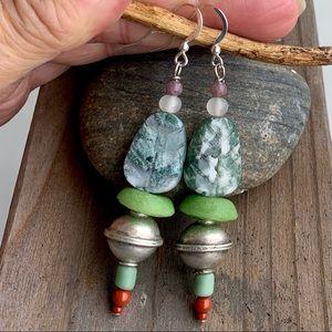 Artisan Leaf & Silver Orb Earrings